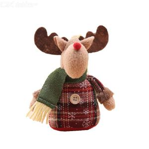 Cartoon Snowflake Plaid Cloth Doll Christmas Tree Ornaments Christmas Tree Decoration Old Man/snowman/elk Shape Sitting Position