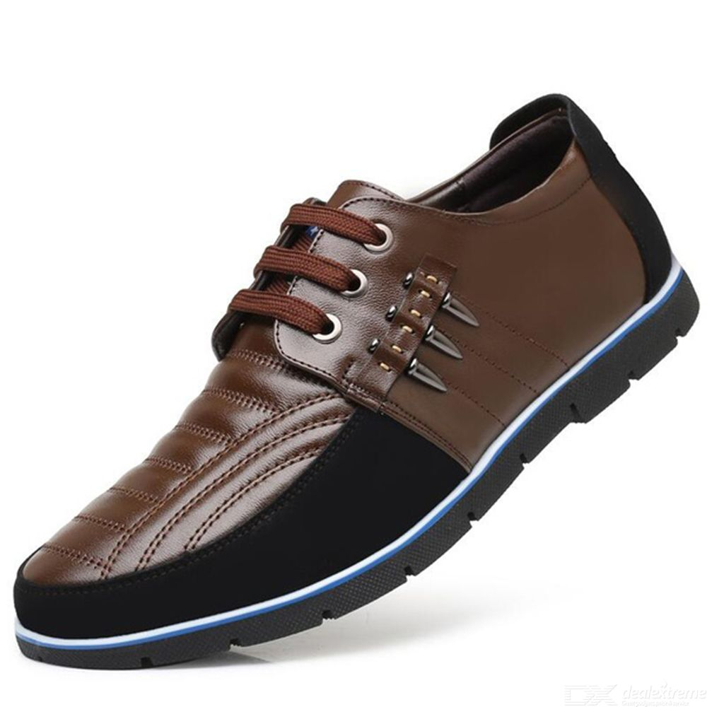 Laced-up Shoes For Men All-match Leather Casual Shoes Plus-size Skate Shoes Brit