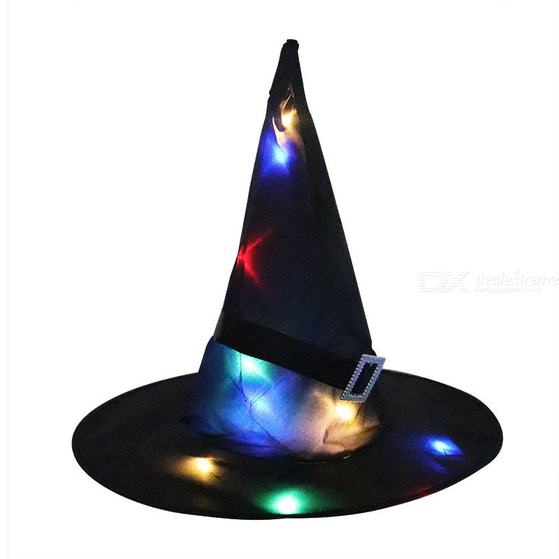 Halloween Glowing Hat LED Luminous Witch Hat Hanging Lace-up Hat For Christmas Party Decorations Witch Hat String Light