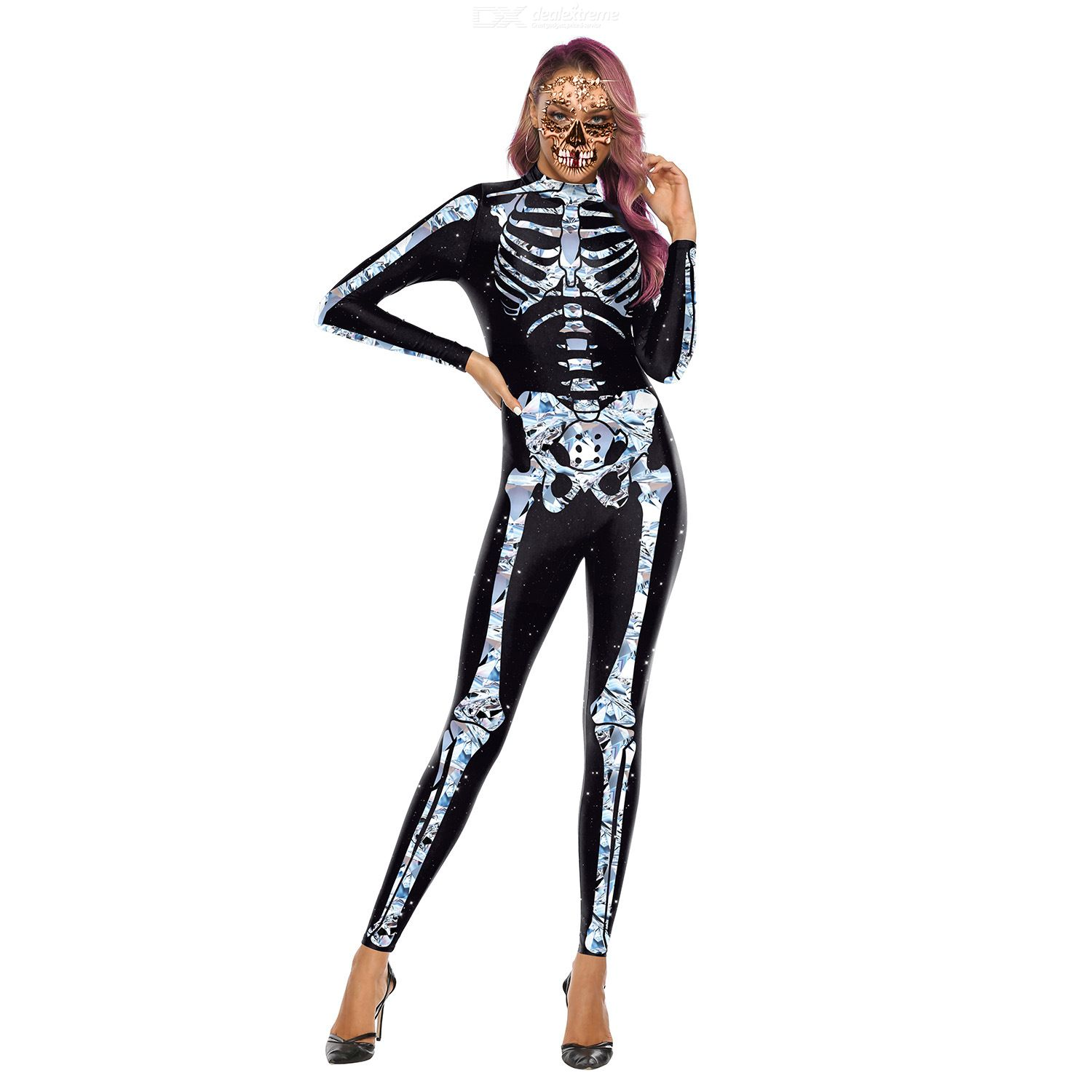 Halloween 3d Skeleton Printing Rompers For Women Scary Long-sleeved Human Suit Slim Bodysuit Stand-up Collar Holiday Cosplay