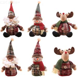 Cartoon Doll Snowflake Plaid Cloth Doll Christmas Tree Ornaments Christmas Tree Decorations Cute Vivid Standing/Sitting Sitting