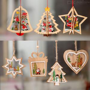 Christmas Decorations Wooden Laser Hollow Monolithic Three-dimension Five-pointed/star Bell Shape Christmas Tree Pendant