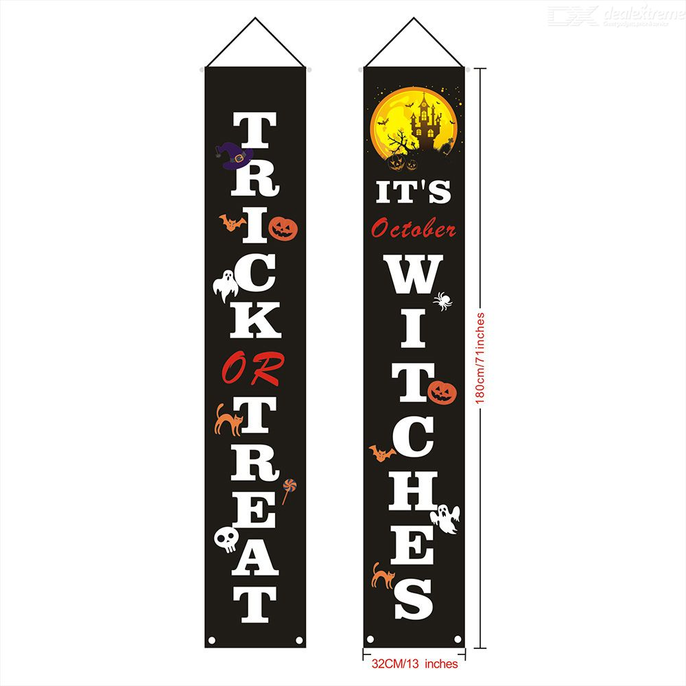 Halloween Couplet Curtain Banner Decorations Outdoor Trick Or Treat Halloween Hanging Couplet Signs Decorations Banner Sticker