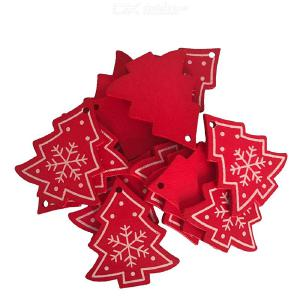 Wooden Pendant For Christmas DIY Drop Ornaments Home Decoration Interior Decoration Hanging Festive Red Stars Trees 10/20/50Pcs