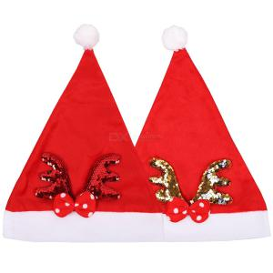 Christmas Decorations Christmas Hat Sequin Hat Headwear Dress Up Christmas Gift Antler Christmas Hat