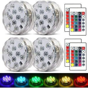 Submersible LED Lights Multicolor RGB 10-LED Lights Waterproof Underwater Light LED Base