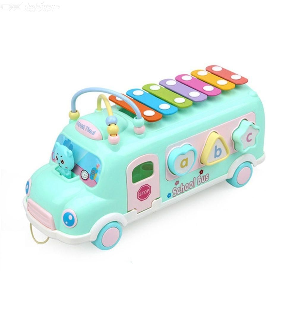 Bus Xylophone Toy Openable Door Draggable Glideable Rolling Around Beads Brain Game