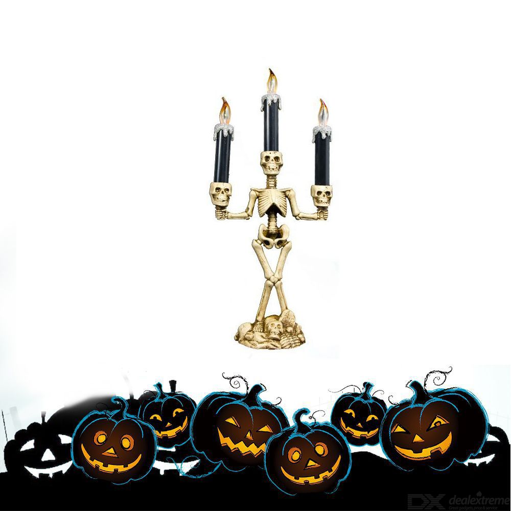 Halloween Decoration Skeleton Candle Holder Ghost Festival Candle Stick Ghost Candle Rack Skull Candle Decoration With Lights