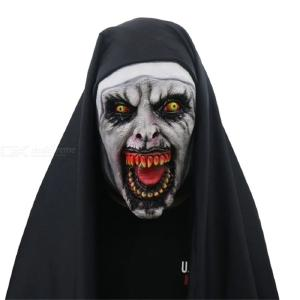 Horror Scary Nun Mask Full Head Fancy Dress Mask Halloween Costume Cosplay Props Prank Devil Cosplay Nun Valak Mask