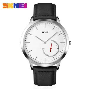 Skmei 1676 Casual Business Wristwatch Simple Style Leather Watch All-match Slim Dial Watch For Men Waterproof Sports Watch