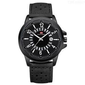 VA VA VOOM VA-206  Creative Sport Watch Leather Business Watch Hollow Calendar Design Casual Waterproof Wristwatch For Men