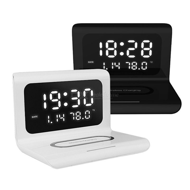 3-in-1 Multi-functional Wireless Charger Mobile Phone Charger Time Alarm Calendar Display Phone Holder 10W Fast Charging