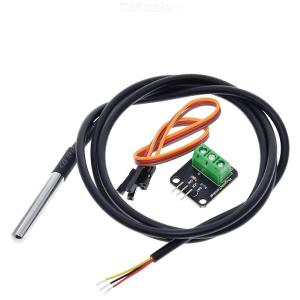 DS18B20 Temperature Sensor Module Kit Waterproof 100 cm Digital Sensor Cable Stainless Steel Probe Terminal Adapter for Arduino