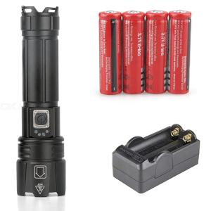 P67 XHP70.2 Tactical LED Flashlight USB Rechargeable Outdoor Hunting ultra Bright 18650/26650 Flashlight Battery Set