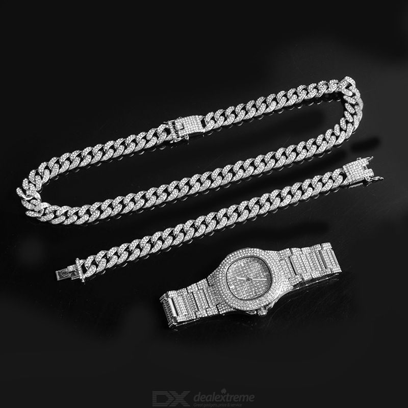 Full Silver Diamond-plated Wristwatch Set Fashion Watch With Bracelet Necklace Stainless Steel Business Watch Three-piece Set