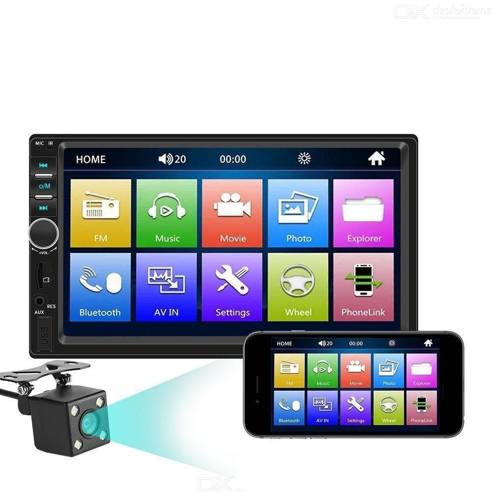 7018B 2Din 7 Inch HD Touch Screen Multimedia Player with 12V Car Stereo Mirror Link Bluetooth Rear View Camera