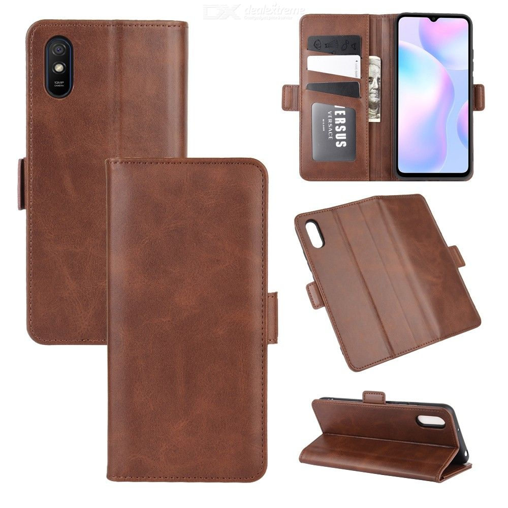 CHUMDIY Double Buckle PU Leather Phone Wallet Case with Stand for Xiaomi Redmi 9A