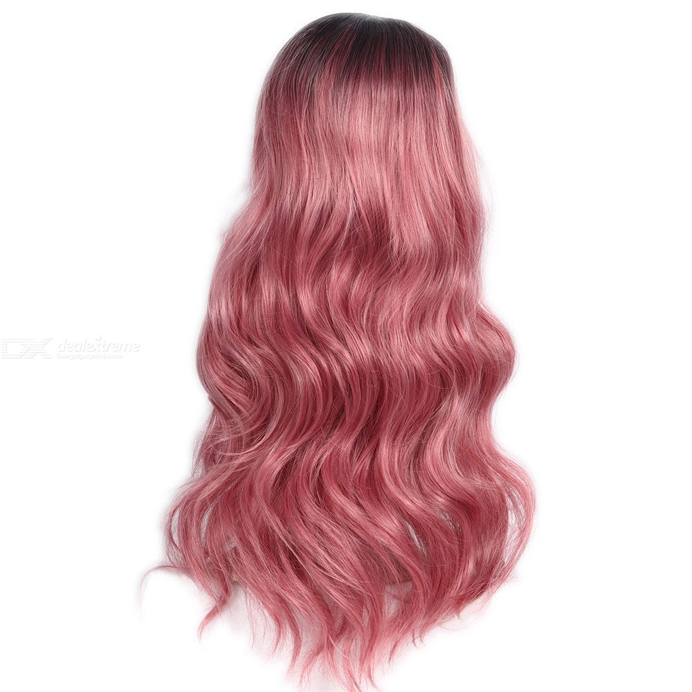 European Style Wig Pink Gradient Wavy Curly Hair Wig Synthetic Long Hair Wigs Heat Resistance Fashion Hair Wigs With Hairnet