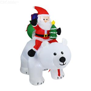 1.7M Gingerbread Man Santa Claus Rides Shaking Head Bear Christmas Model Props Christmas Inflatable Model For Outdoor