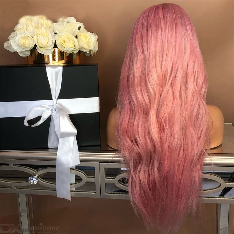European Style Wig Pink Wavy Curly Hair Wig Synthetic Long Hair Wigs Heat Resistance Fashion Wigs With High Quality Hairnet