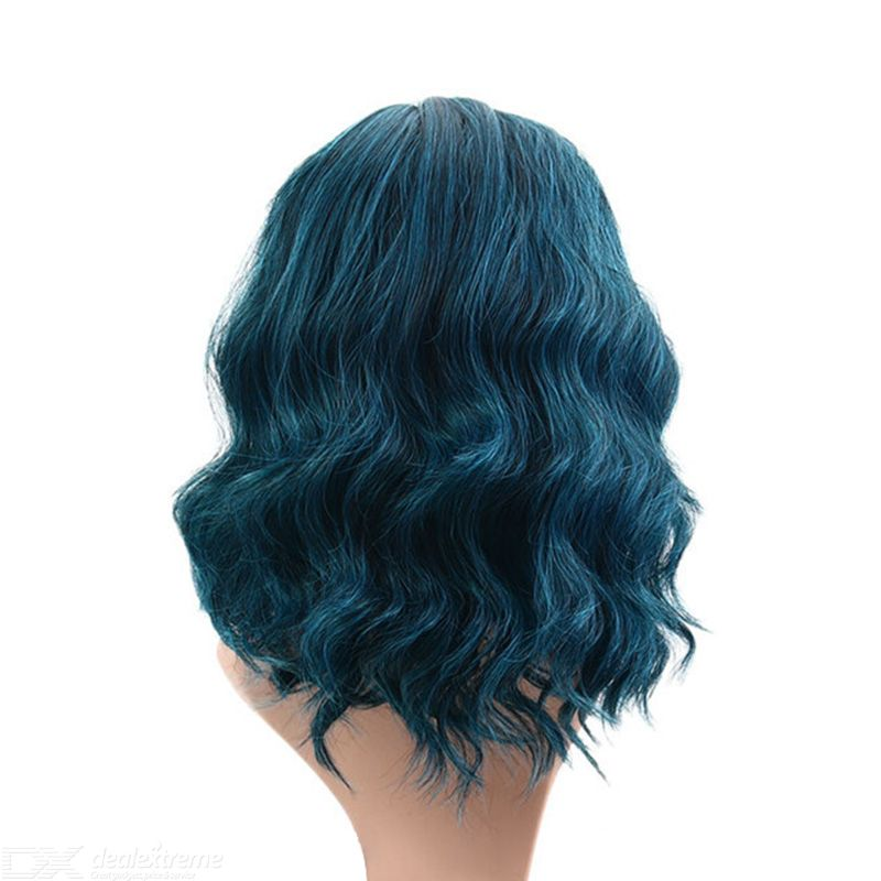 European Style Wig Blue Wavy Curly Hair Wig Synthetic Short Hair Wigs Heat Resistance Fashion Wigs With High Quality Hairnet Dealextreme