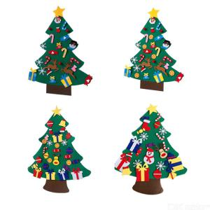 Colorful Christmas Decoration Kids Handmade DIY Three-dimensional Felt Cloth Christmas Tree  Christmas Tree Hanging Decor