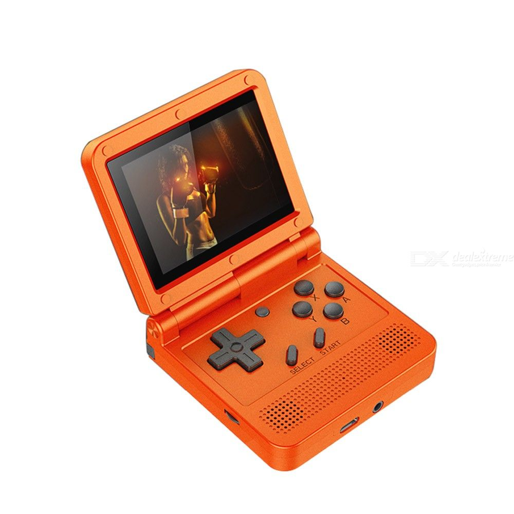 Powkiddy V90 Retro Game Console Flip Linux System Handheld Game Console with16G Built in 2000 Games Video Game Console For PS1