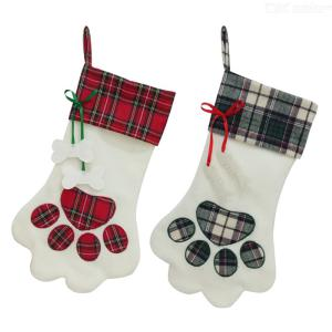2020 Dogs Claw Candy Bags Christmas Stockings Plaid Christmas Gift Bags Christmas Dog Claws Pendant Xmas Party Garden Supplies