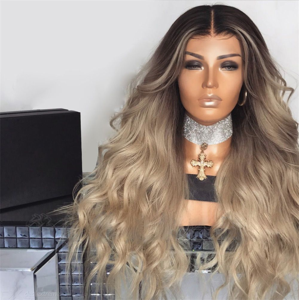 European Style Wig Gradient Wavy Curly Hair Wig Synthetic Long Hair Wigs Heat Resistance Fashion Hair Wigs With Hairnet