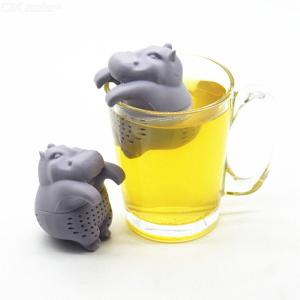 Tea Infuser Tea Accessories Food Grade Silicone Loose Leaf Diffuser Tea Strainer Reusable Hippo Shaped Coffee Herb Filter