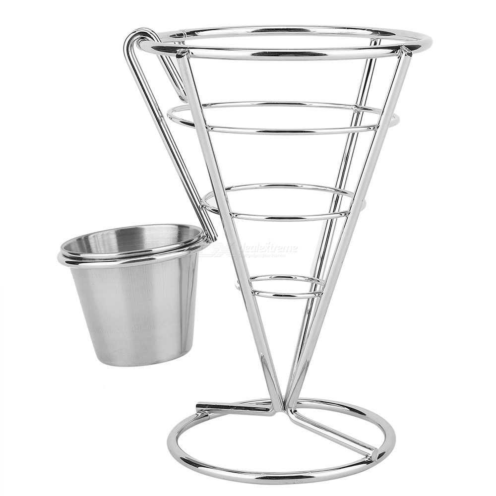 Electroplated Single-Head Fries Rack Buffet Cone Snacks Class Showing Stand Fried Chicken Class Cooked Showing Stand