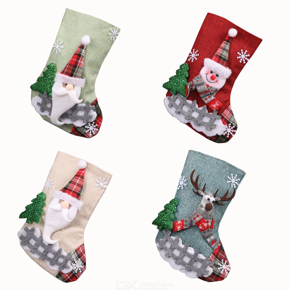 4Pcs Christmas Stocking Xmas Sock Sack Gift Bag Santa Snowman Reindeer For Tree Decoration Christmas Ornament Candy Pouch Bag