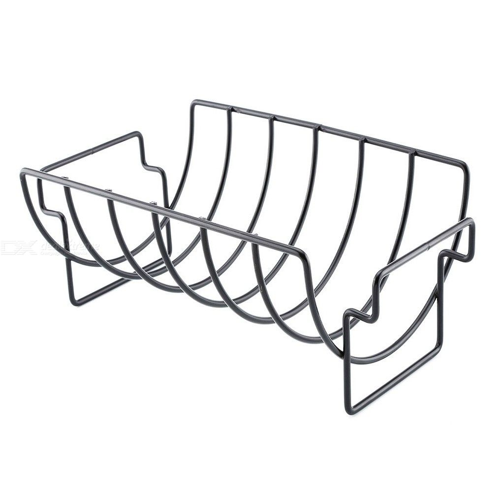 Dealextreme / 38 New Rib Rack Stand Non Stick Outdoor Grilling Bbq Picnics Camping Outdoor Chicken Beef Ribs Roasts Turkeys Steak Holder