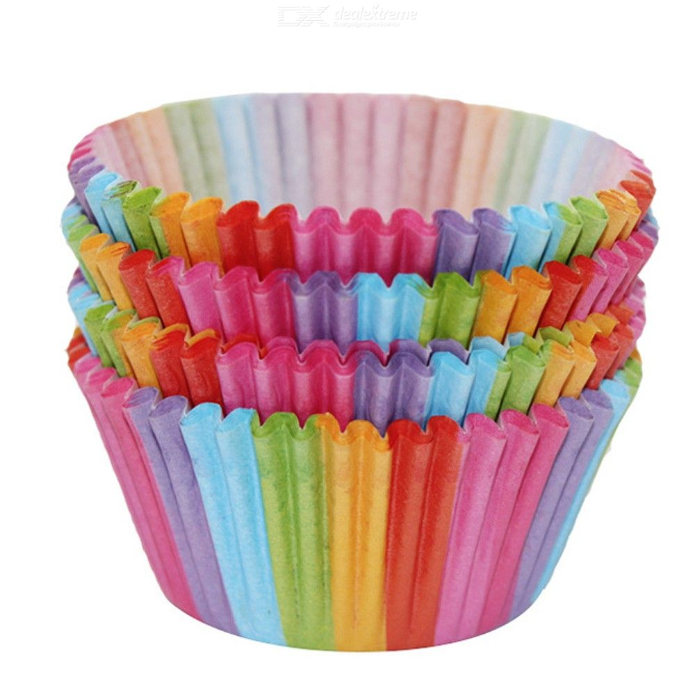 Dealextreme / Kitchen Baking 100 Pcs Rainbow Paper Cake Cup Cupcake Paper Muffin Party Tray Bakeware Stands Cupcake Cases Liners Wedding Party