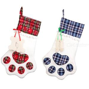 Christmas Stockings Pet Christmas Hanging Stockings Bone Shape Pets Stockings For Christmas Socks Gift Bag Home Decoration