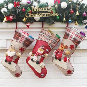 3PCS Christmas Stocking Sock Gift Bag Tree Decorating Supplies Festival Creative Decorative Socks Hanging Ornaments Decoration