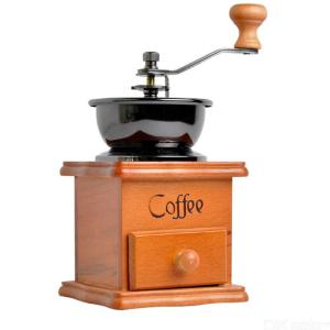 Solid wood hand coffee bean grinder