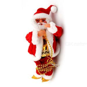 Christmas Decorations Electric Santa Claus Ornaments Creative Plush Santa Doll Toy That Will Climb The Beads