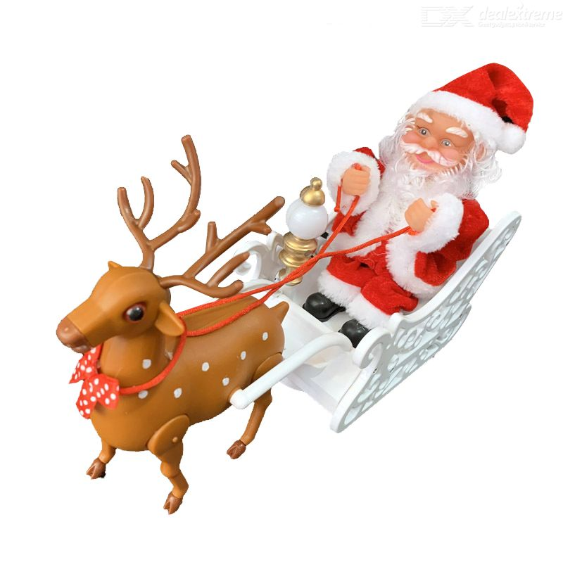 Elk Sleigh Santa Claus Doll Electric Music Santa Claus Doll Christmas Decoration Gift For Children Without Battery