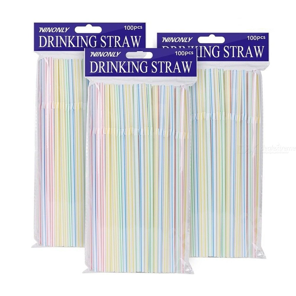 100 Pack Disposable Straws Flexible Plastic Straws Striped Multi Colored Rainbow Drinking Straws Bendy Straw Bar Accessories