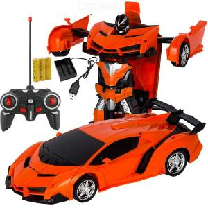 Rechargeable Remote Control Transforming Vehicle Police Car Toy Remote Control Robots One-button Transforming Simulation Model