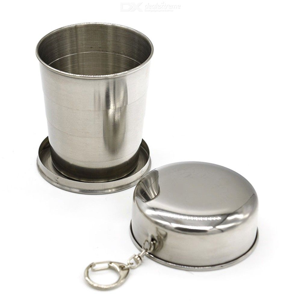 Stainless | Keychain | Portable | Outdoor | Coffee | Travel | Water | Steel | Camp | Fold | Cup