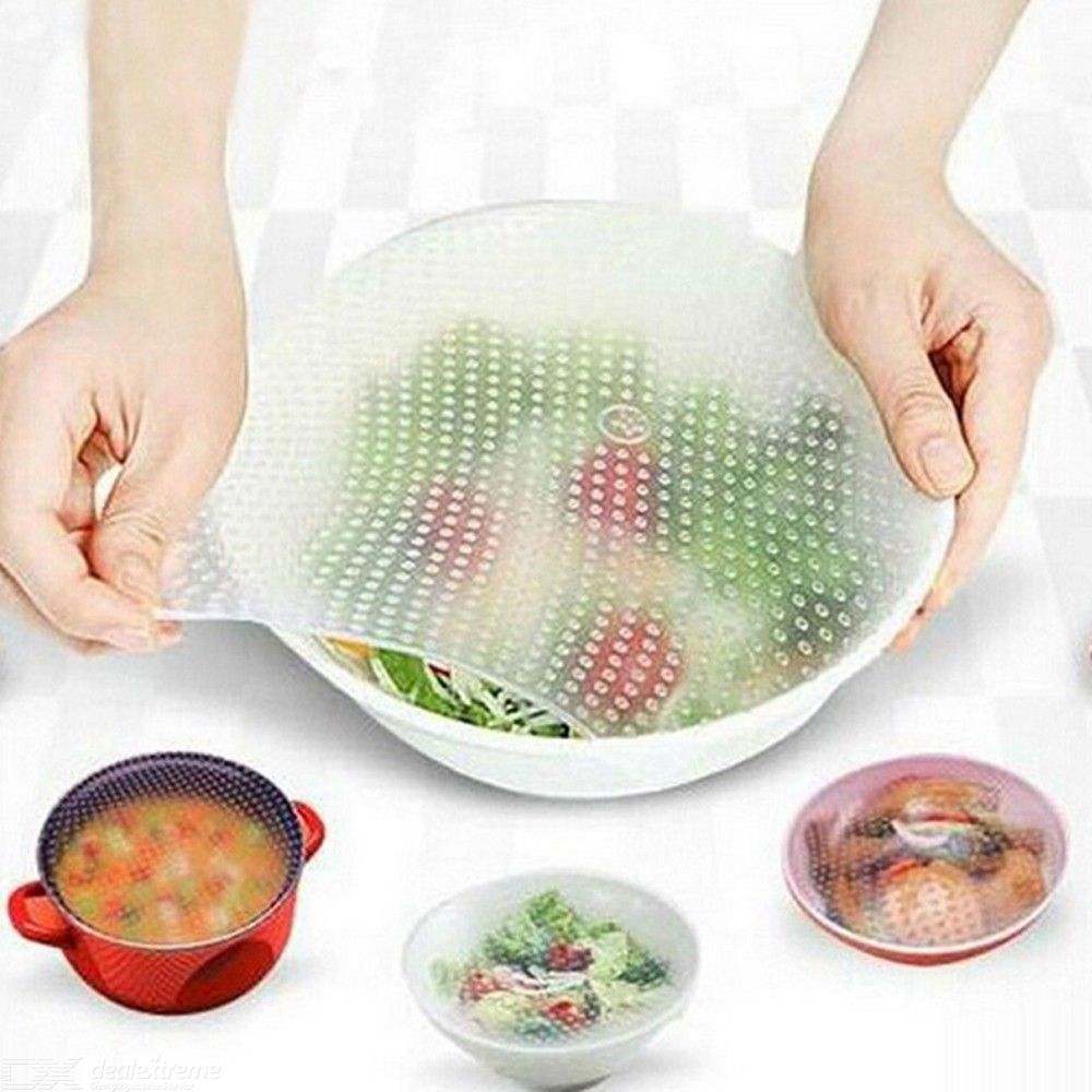 3PCS Kitchen Supplies Multifunctional Silicone Food Stretch Cover Placemat Silicone Food Packaging Sealed Stretch Plastic Wrap