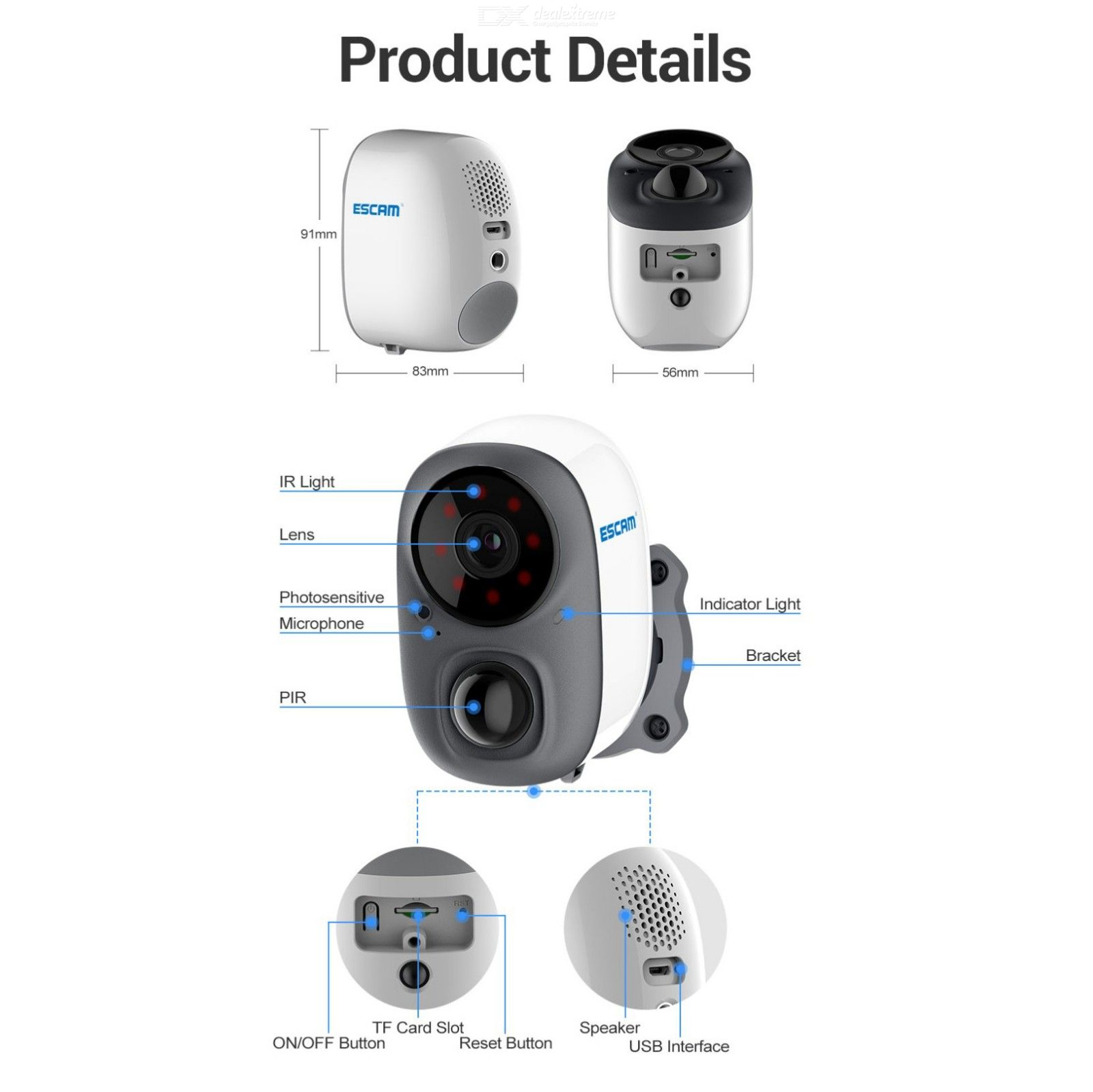 ESCAM G15 1080P Full HD AI Recognition Rechargeable Battery PIR Alarm Cloud Storage WiFi Camera