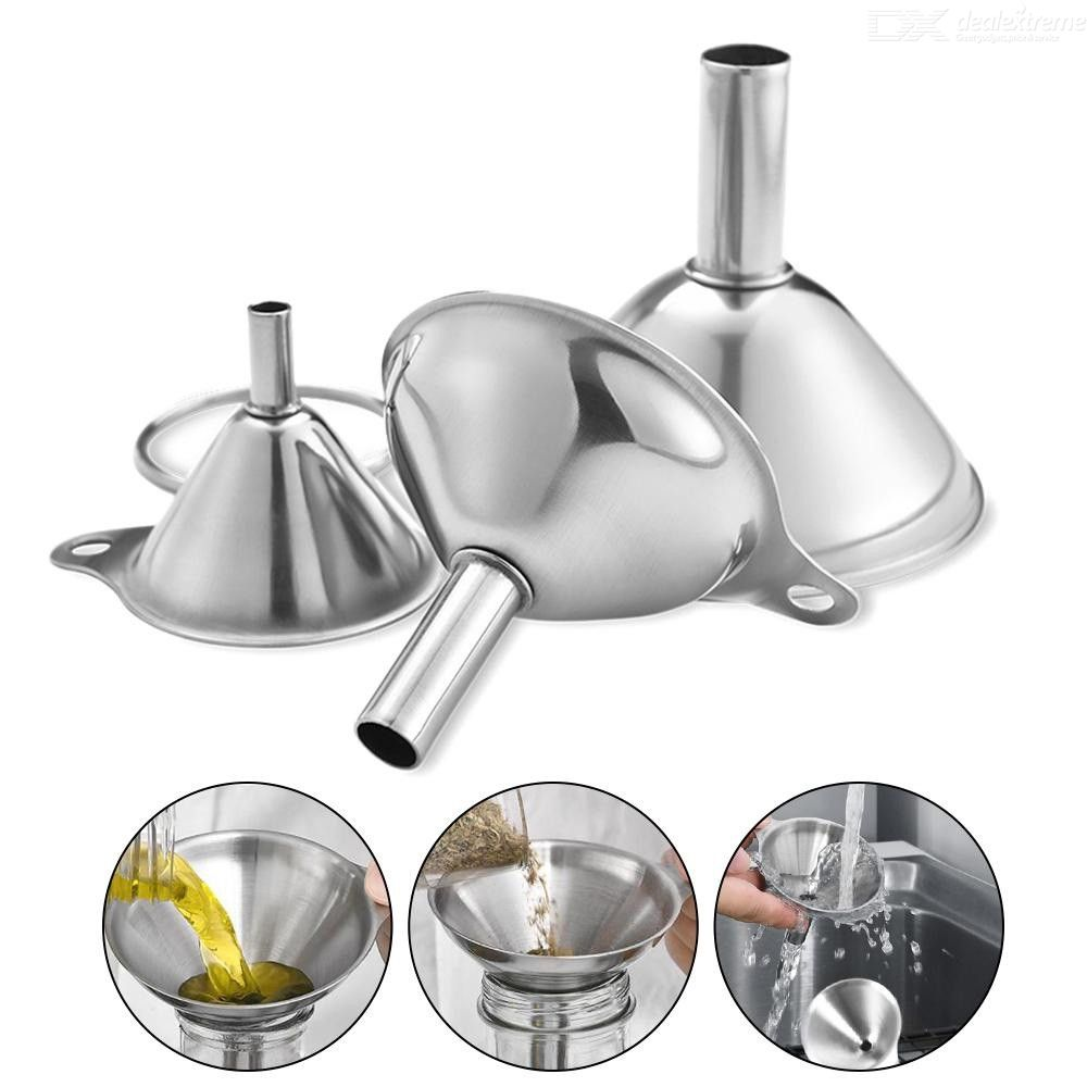 Dealextreme / Stainless Steel Funnel 3 Pieces Mini Oil Wine Integrated Funnel Liquid Dispenser Kichen Accessories Multifunctional Practical