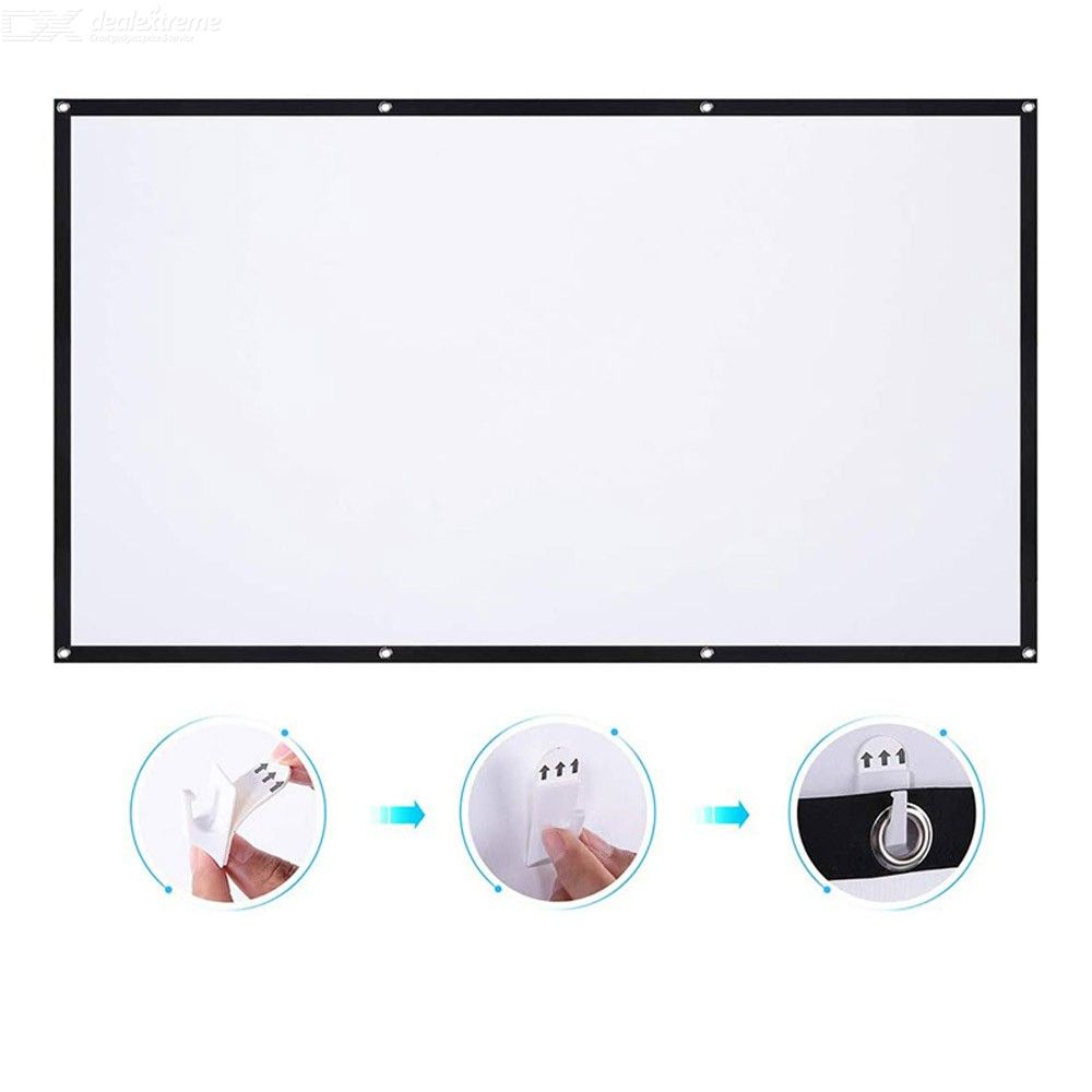 Portable 16:9 Movie Projection Screen Projector Screen HD Home Movie Theater Cinema Foldable Outdoor 60 inches
