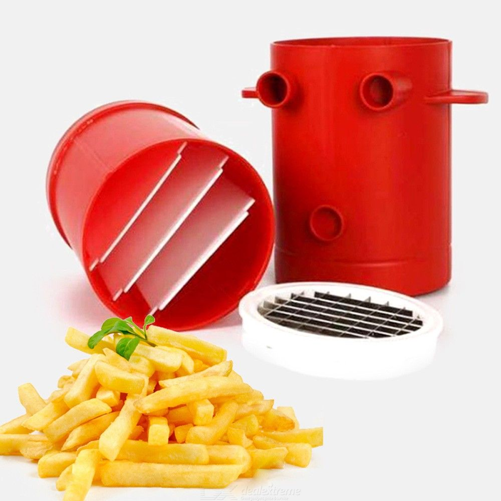 2-in-1 No Deep-Fry Copper Fries Potatoes Make Slicers French Fries Maker For Jiffy Fries Cutter Machine Microwave Container