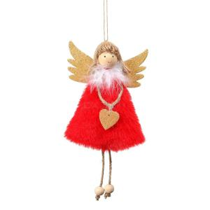 4Pcs Christmas Decoration Pendant Christmas Tree Decoration Cute Love Plush Feather Angel Creative Doll Pendant