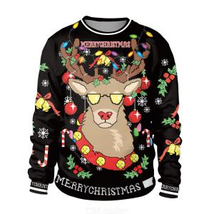 Christmas Digital Print Pullovers Reindeer Print Sweater Xmas Round-Neck Sweatshirt Full-sleeve Hoodies Xmas Gifts For Friends