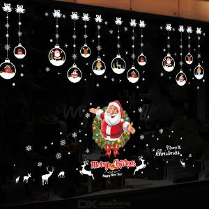 Christmas Sticker Santa Claus Wall Sticker Door Store Windows Decorations Snowflakes Reindeer Xmas Tree Wall Sticker New Year